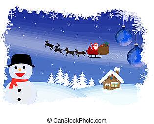 Santa's sleigh Christmas card, vector illustration
