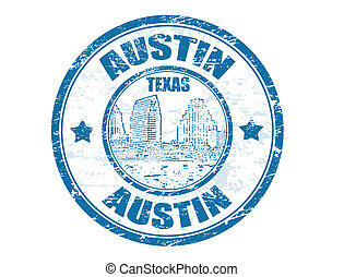Austin stamp - Grunge rubber stamp with Town Lake and the...