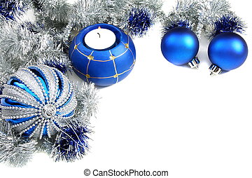 Christmas still life with blue balls and tinsel. - Christmas...