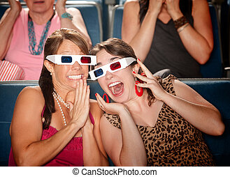 Excited Women Watch 3d Movie - Two excited Caucasian women...