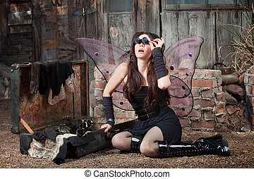 Fairy With Loupe Glasses - Beautiful Caucasian fairy with...