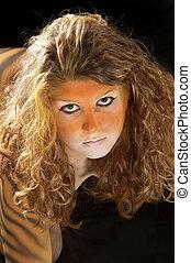 bodypainted tiger girl portrait
