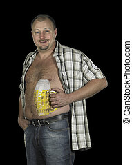 bodypainted beer belly - studio photography showing a man...