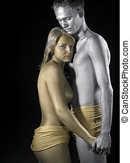 gold and silver couple