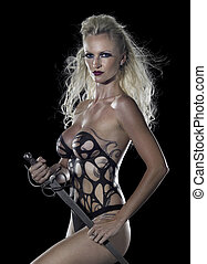 blond seminude Amazon with sword - a bodypainted blond woman...