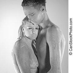 muddy couple portrait