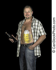 man with painted beer belly - studio photography of a man...