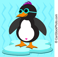 Cool Penguin on Ice - Here is a cute Penguin with blue...