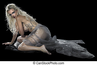 Dark Angel - bodypainted blond woman posing in dark back
