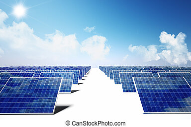 solar energy - lots of solar panel and blue sky