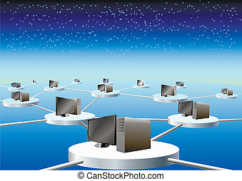 Global computer network. - Computers connected in a network...