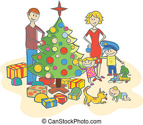 happy family dressing up the christmas tree isolated -...