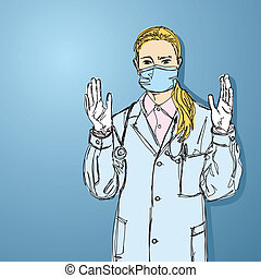 doctor woman in mask looking at camera - vector doctor woman...