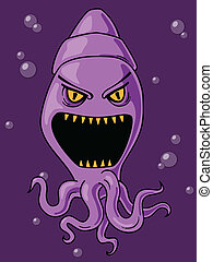 Scary Squid Cartoon - Cute yet scary squid cartoon