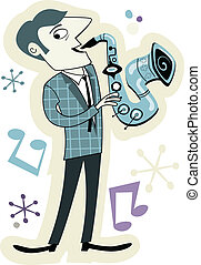 Retro Style Sax Player Cartoon - Illustration of a saxophone...