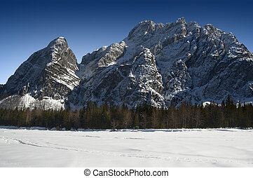 Alps in Italy - Tarvisio - Val Sais - Group of snowy peaks...