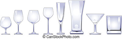 Drinking Glasses Illustration - Collection of wine and other...