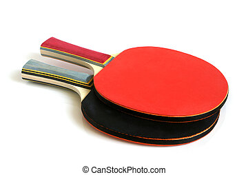 Table tennis rackets on a white background