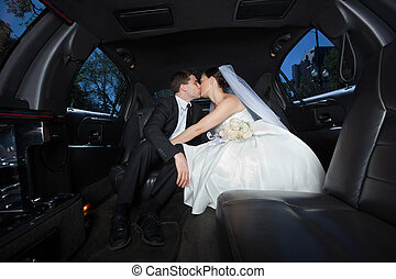 Wedding Couple Kissing Each Other - Newlywed couple kissing...