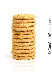 Stack of oatmeal cookies on a white background