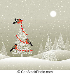 Christmas tree in winter forest - Bullfinches decorates a...