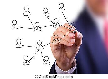 negócio, homem, mão, escrita, social, rede,...