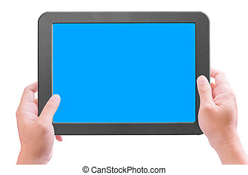 hand holding touchpad pc isolated