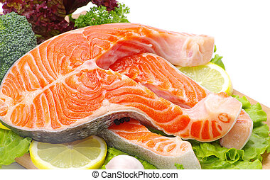 salmon  - raw salmon and spices isolated