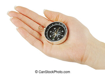 Compass in hand - Compass in a hand isolated on the white