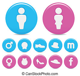 gender icons - set of six gender icons