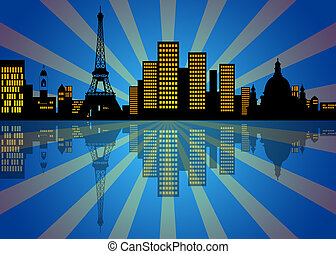Reflection of New York City Skyline at Night