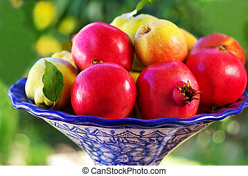 pomegranate and quince basket fruits