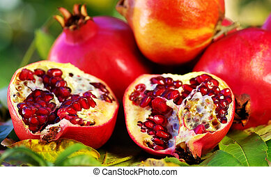 Pomegranates on table - Pomegranates and leaves on table