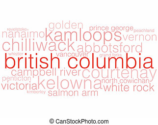 British Columbia - A word cloud listing the major cities of...