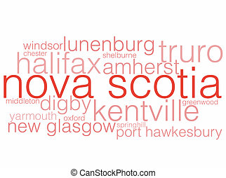 Nova Scotia - A word cloud listing the major cities of Nova...