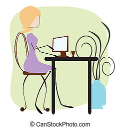 Office Girl - office girl typing