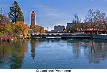 Landscape of Spokane, Wa - Riverfront Park in Early Spring -...
