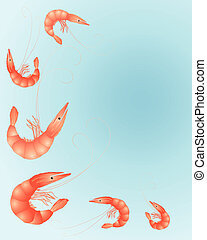 prawns - an illustration of brightly colored prawns on a sea...