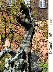 Wawel dragon statue. Poland, Krakow