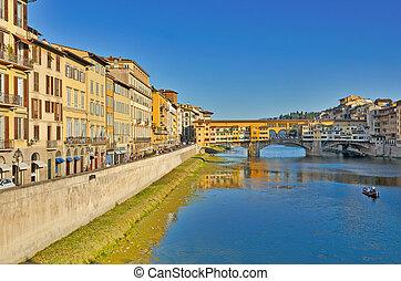 Ponte Vecchio Bridge over river Arno