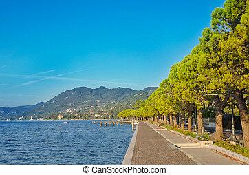 Promenade on a Garda lake, Italy