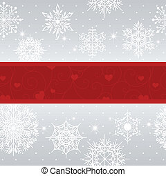 Christmas greeting card with snowflakes and star on silver...