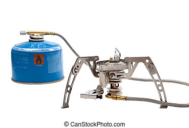 Camping gas stove with cartridge Isolated on white...