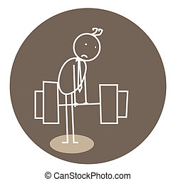 weak weightlifting doodle vector