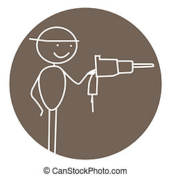 drill carpenter vector