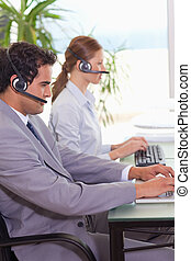 Call center agents at work