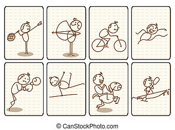 Outlined Doodle Cartoon sports - Outlined Doodle Cartoon...