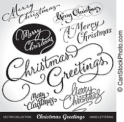 xmas hand lettering set (vector) - merry christmas hand...