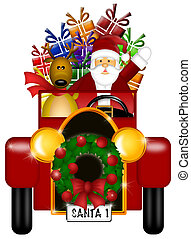 Santa and Reindeer Riding in Vintage Car Isolated