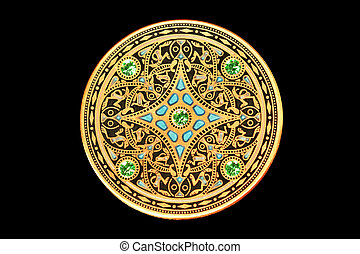 Golden Coin - Golden coin with small gems against black...
